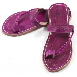 Sandales marocaines en cuir fushia