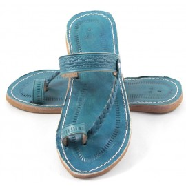 Moroccan flip-flops in turquoise leather