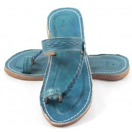 Sandales marocaines en cuir turquoise