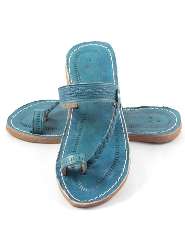 e478d2350 Sandales marocaines en cuir turquoise