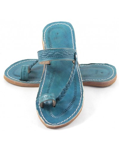 Moroccan Flip-Flops made of Turquoise Leather