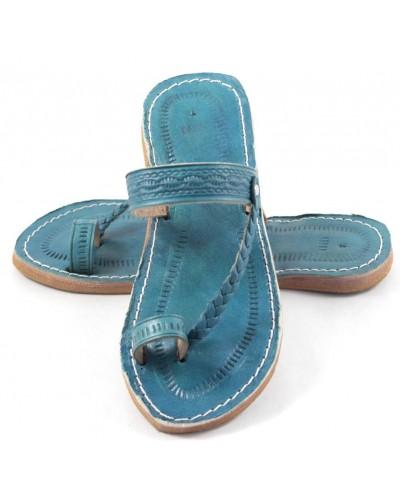 Sandalias marroquíes de cuero turquesa