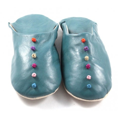 Babouches Pompons cuir turquoise