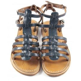 Sandales en cuir bleu Samira