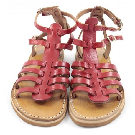 Sandales en cuir rouge Samira