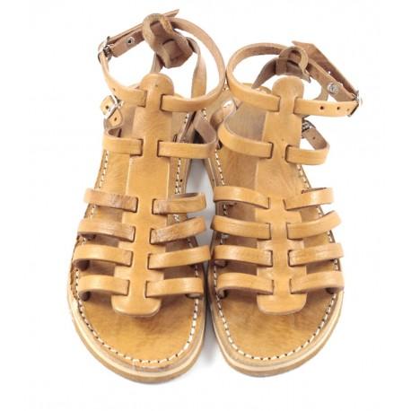 Sandales en cuir camel Samira