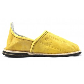 Berber leather slippers in yellow
