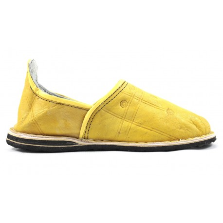 Babouches Berbères en cuir jaune