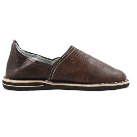 Berber leather slippers in brown