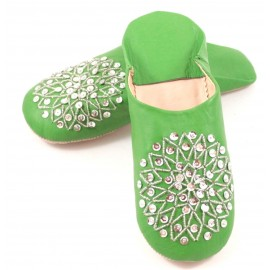 Green selma slippers with sequins