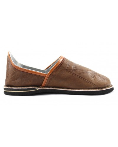 Berber slippers made of light brown leather