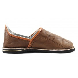 Berber leather slippers in light brown
