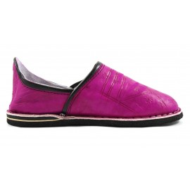 Berber leather slippers in fuchsia