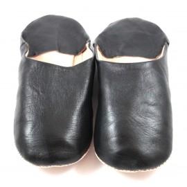 Babouche marocaine en cuir souple noir