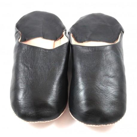 Babouches en cuir souple noir