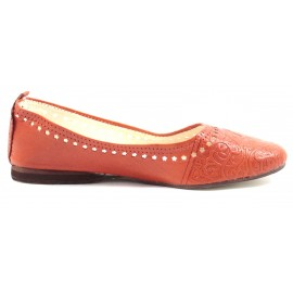 Ballerines marocaines en cuir orange