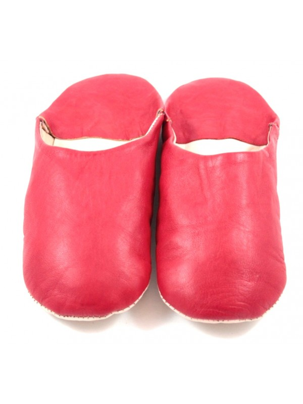 Moroccan slippers in soft red leather