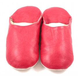 Moroccan slippers made of red soft leather
