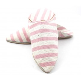 Babuchas de tela a rayas color rosa y blanco para dama