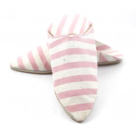 Babouches rayées en tissu rose et blanc