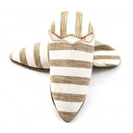 Gestreifte Stoff-Babouches für Frauen- kastanienbraun- weiß
