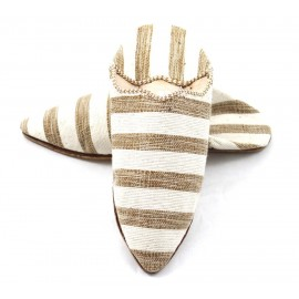 Striped slippers made of Brown and White fabric for Women