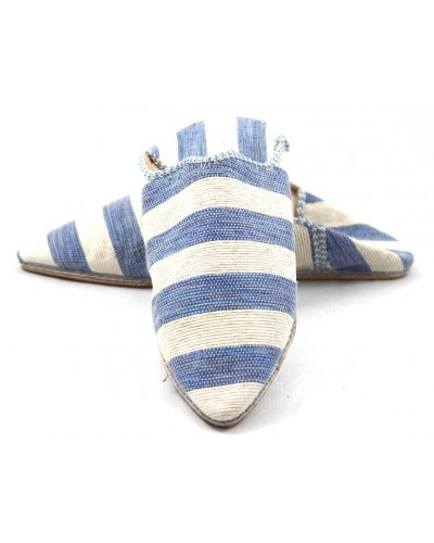 Women's striped slippers in blue and white fabric
