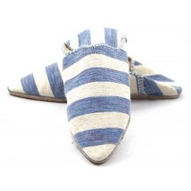 Babouche femme rayée en tissu bleu et blanc