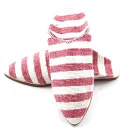 Gestreifte Babouches für Frauen aus Kilim-Teppich- rosa und weiß
