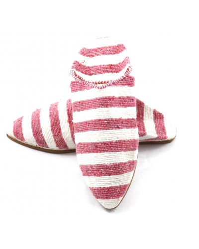 Babouche femme rayée en tapis kilim rose et blanc