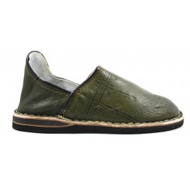 Berber leather slippers in khaki
