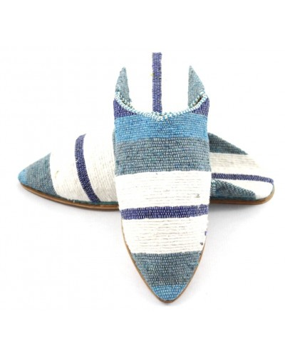 Striped slippers made of Carpet Kilim Blue and White fabric for Women
