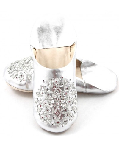 Silver selma slippers with sequins