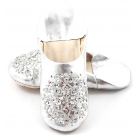 Selma Slippers in Silver Glitter