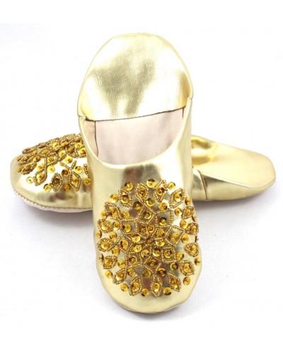 Babuchas Selma con lentejuelas doradas