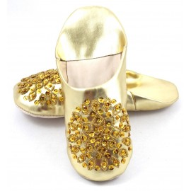 Gold selma slippers with sequins