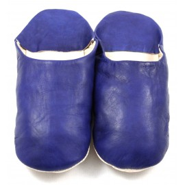 Moroccan slippers in soft navy leather