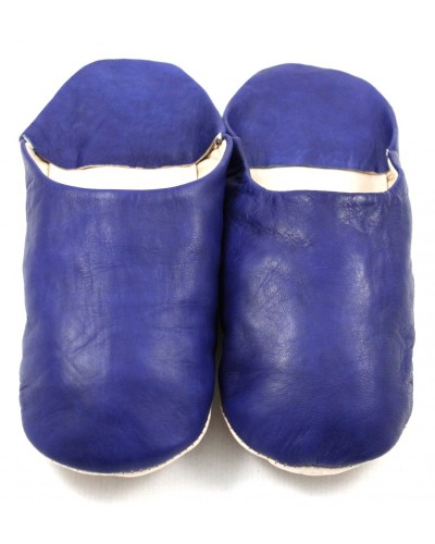 Moroccan slippers made of soft Navy leather