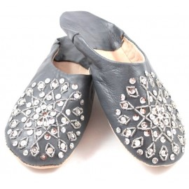 Selma Slippers in Dark Gray Glitter