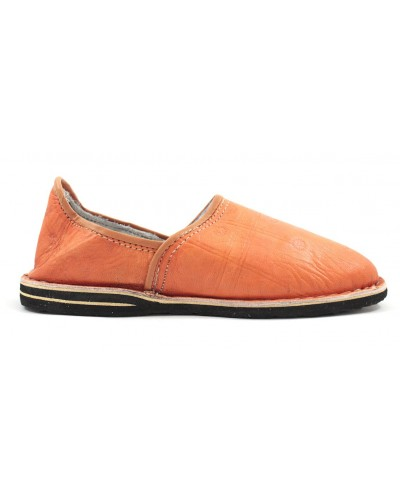 Berber leather slippers in orange