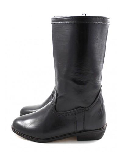 Bottes en cuir noir lisse