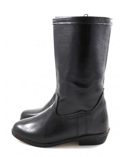 Smooth black leather ankle boots
