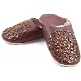 Brown selma slippers with sequins