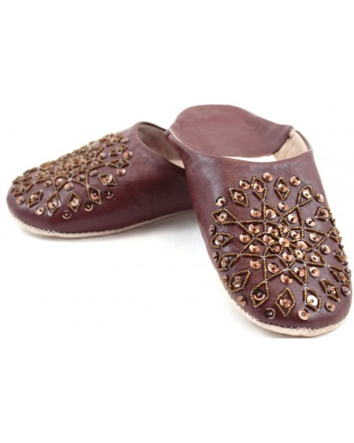 Selma Slippers in Brown Glitter