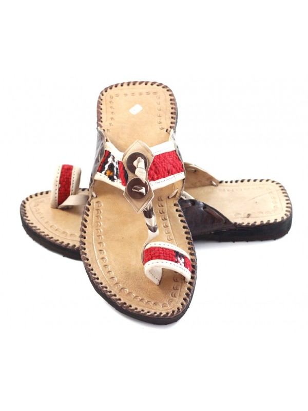 Moroccan Leather Kilim Flip Flops Natural And 29EHYDIW