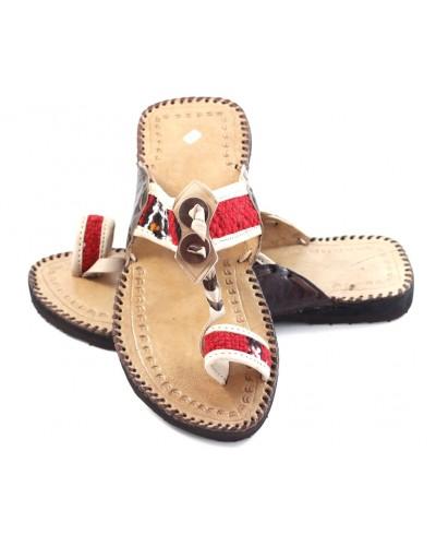 Sandales berbère en cuir naturel et Kilim