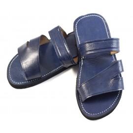Sandalias marroquíes de cuero azul para caballero