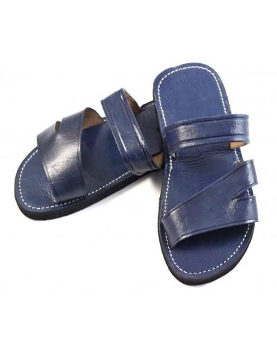 Sandales homme marocaines en cuir bleu