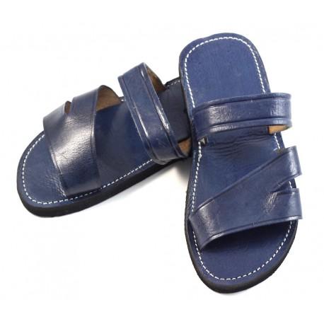 Marroquí hombre sandalias de cuero azul