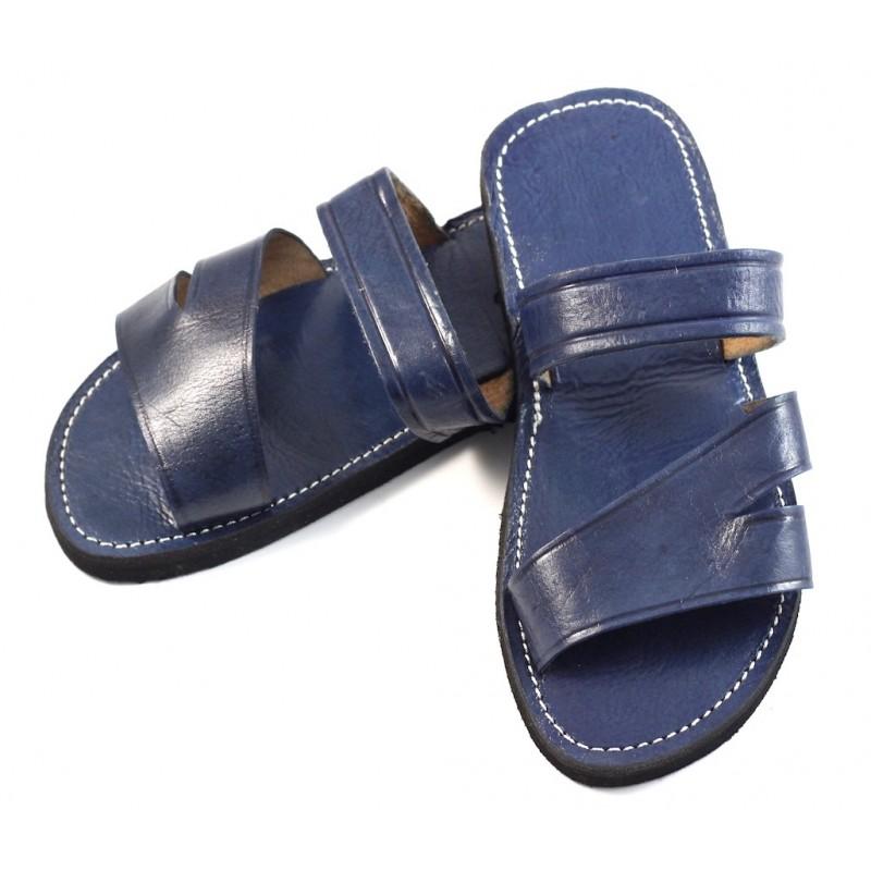 sandales marocaines homme en cuir bleu. Black Bedroom Furniture Sets. Home Design Ideas